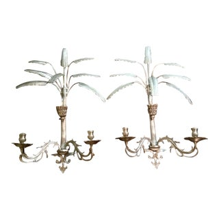 Brass Palm Frond Sconces- A Pair