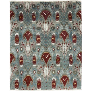 """Ikat, Hand Knotted Area Rug - 8' 0"""" x 9' 10"""""""