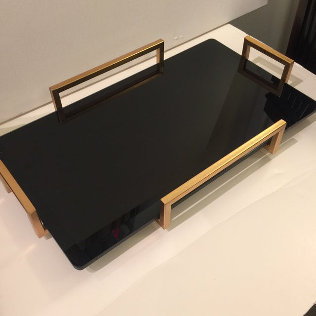 Gold Metal Handled Black Beveled Glass Tray - Image 4 of 8