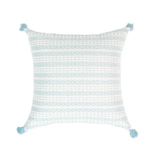Serenity Blue Handwoven Mexican Pillow