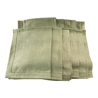 Vintage Mist Green Linen Napkins - Set of 12