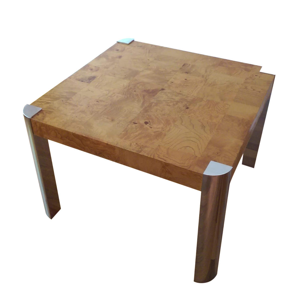 Milo Baughman Burl Wood U0026 Chrome Side Table   Image 1 Of 11