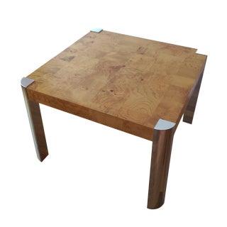 Milo Baughman Burl Wood & Chrome Side Table