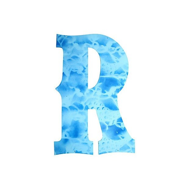 Large Blue Metal Marquee Letter R - Image 2 of 2