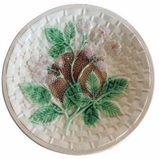 Antique English Majolica Blackberries Plate