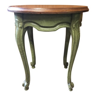 Brandt French Style Green Painted Oval Side Table