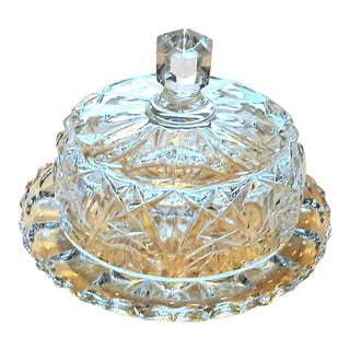Crystal Cut Glass Lidded Butter/Cheese Dish