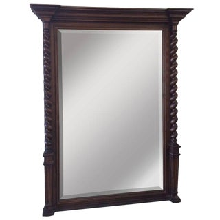 French Barley Twist Dark Walnut Mirror