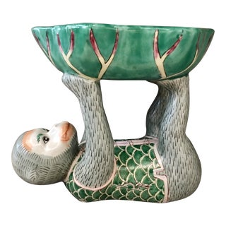 Kelly Green Monkey & Lotus Bowl