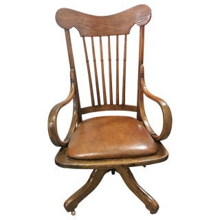 Antique Wood Rolling Office Chair