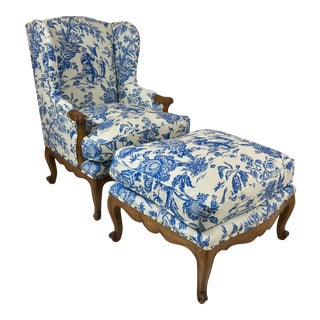 French Style Chinoiserie Chair & Ottoman