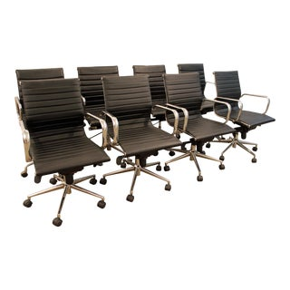 Mid-Century Danish Modern Aeron Style Aluminum Office Chairs - Set of 8