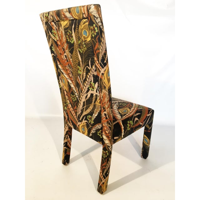 Peacock print upholstered dining chairs after milo for Printed upholstered dining chairs