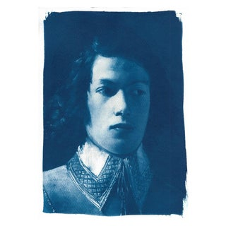 Portrait of Boy From De La Tour, Cyanotype Print on Watercolor Paper, A4 Size (Limited Edition)