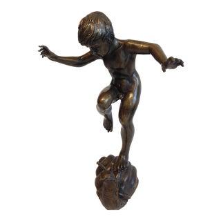 Bronze Boy & Snail Garden Fountain