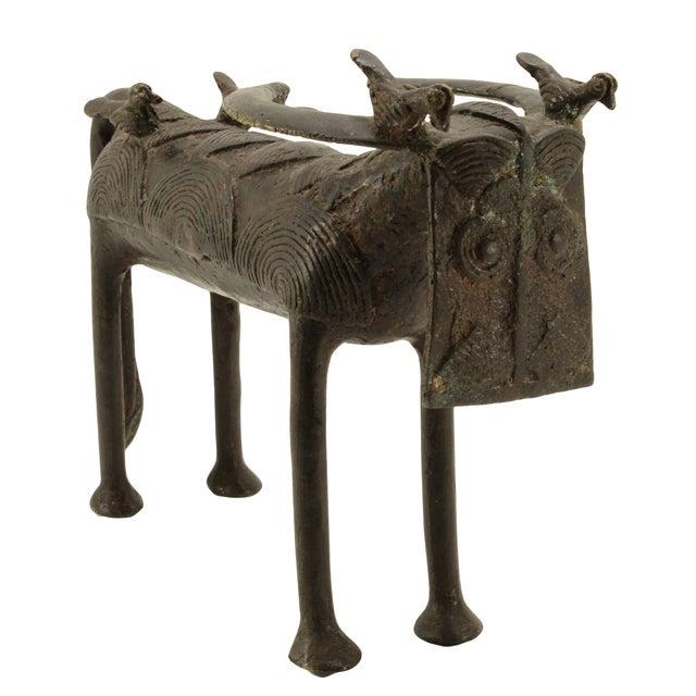 Antique Benin Bronze Water Buffalo & Birds - Image 1 of 4