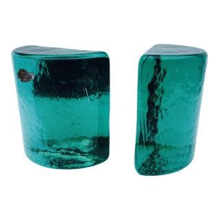 Green Blenko Art Glass Half Moon Bookends - A Pair