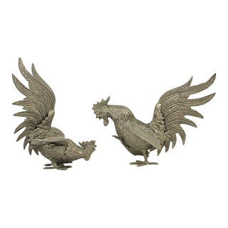 Fighting Rooster Figurines - a Pair