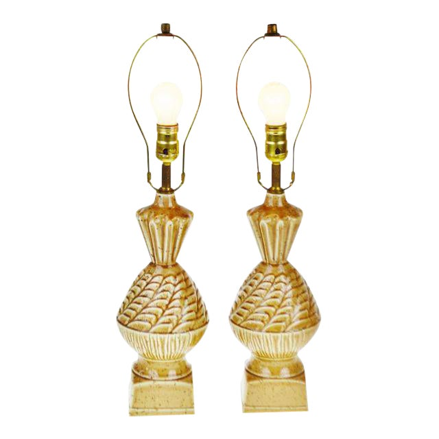 Vintage Ceramic Glazed Table Lamps - A Pair - Image 1 of 10
