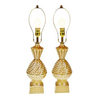 Vintage Ceramic Glazed Table Lamps - A Pair
