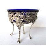 Image of Antique Continental Silver & Blue Glass Bowl