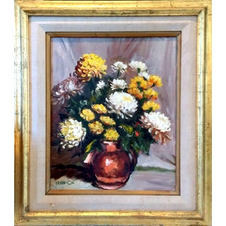 """Vintage Framed """"Yellow & White Mums"""" Oil Painting"""