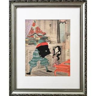 Antique Japanese Samurai Temple Rescue Woodblock Print