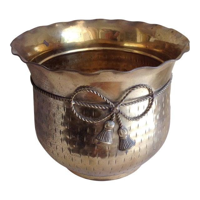Vintage Etched Metal Brass Vessel - Image 1 of 9