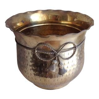 Vintage Etched Metal Brass Vessel