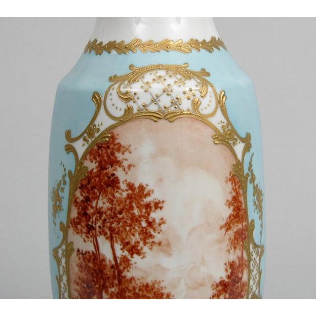 French Antique Porcelain Toile Vase - Image 8 of 10