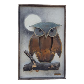 1974 Original Alex Kovacs Owl Torch Copper Wall Art .