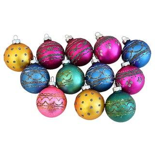 1950s Mid-Century Glitter Christmas Ornaments w/Box - Set of 12