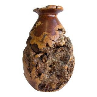 Large Turned Burl Wood Vase