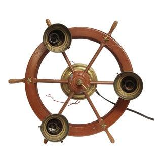 Brass and Wood Nautical Flush Mount Light