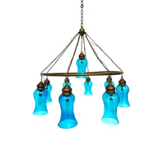 Handblown Blue Glass Chandelier