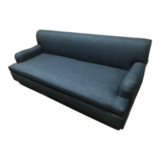 Clad Home Blue Linen Roll Arm Sofa