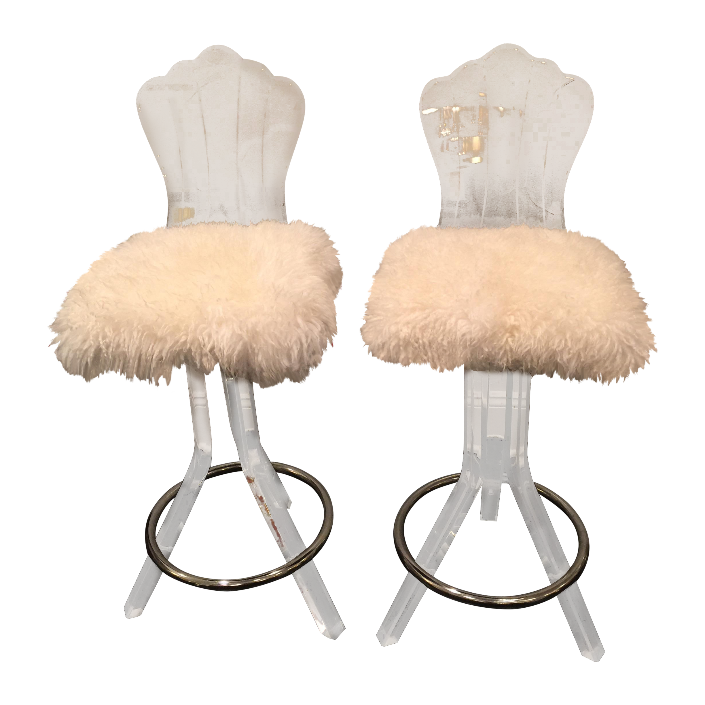 Lucite Swivel Bar Stool With Sheep Skin Fur Pair Chairish