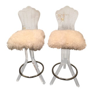 Lucite Swivel Bar Stool With Sheep Skin Fur - Pair