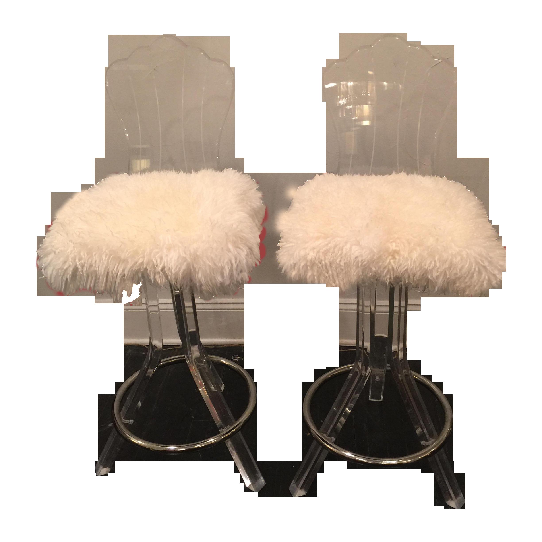 lucite swivel bar stool with sheep skin fur pair