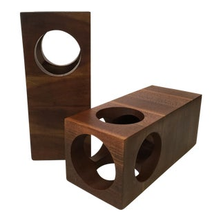 Wood Cut Out Candleholders - A Pair