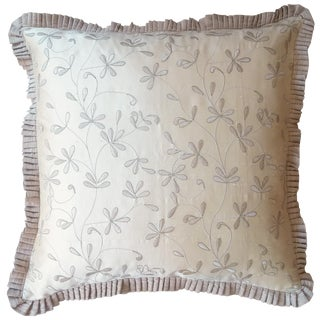 Pale Beige Silk Embroidered Pillow