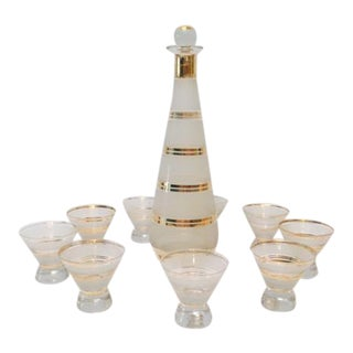 Mid-Century Gold Trimmed Decanter with 9 Glasses