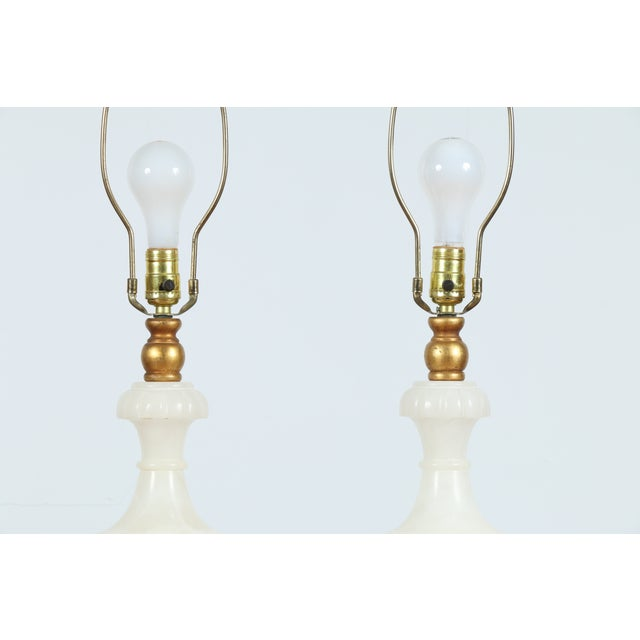 Image of Vintage Alabaster Carved Lamps - A Pair