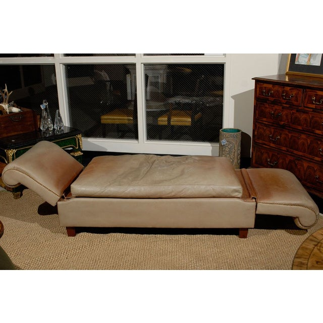 French Convertible Leather Daybed - Image 3 of 6