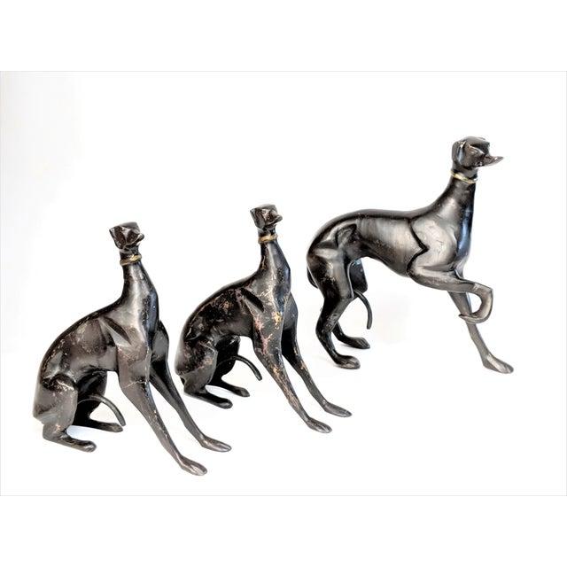 Bronze Greyhound Dog Statues - Set of 3 - Image 3 of 11