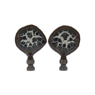 Split Septarian Nodule Lamp Finials - A  Pair