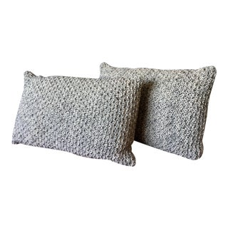 Knotted Wool Pillows, Warm Grey Winter Christmas Decor Set/2