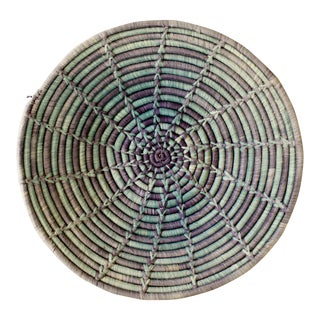 Vintage Blue & Teal Handmade Woven Coil Basket