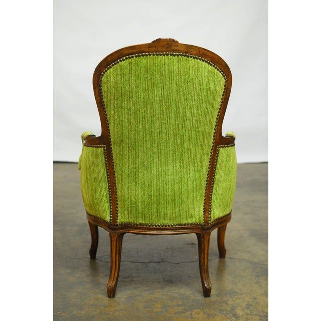 Louis XV Carved Chartreuse Velvet Bergeres - Pair - Image 3 of 8