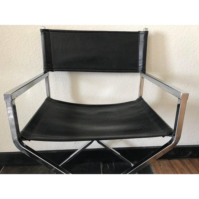 Vintage Mid-Century Modern Black Vinyl & Chrome Director Chair - Image 6 of 8